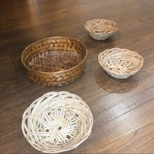 Vintage three small woven baskets
